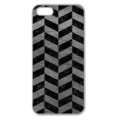 Chevron1 Black Marble & Gray Leather Apple Seamless Iphone 5 Case (clear)