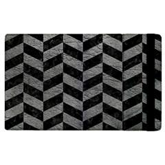 Chevron1 Black Marble & Gray Leather Apple Ipad 2 Flip Case