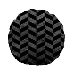 Chevron1 Black Marble & Gray Leather Standard 15  Premium Round Cushions
