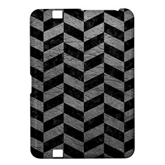 Chevron1 Black Marble & Gray Leather Kindle Fire Hd 8 9