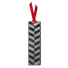 Chevron1 Black Marble & Gray Leather Small Book Marks