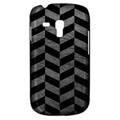 Chevron1 Black Marble & Gray Leather Galaxy S3 Mini