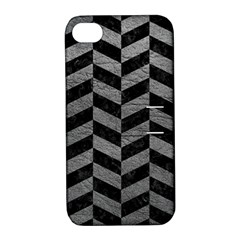 Chevron1 Black Marble & Gray Leather Apple Iphone 4/4s Hardshell Case With Stand
