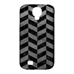 Chevron1 Black Marble & Gray Leather Samsung Galaxy S4 Classic Hardshell Case (pc+silicone)
