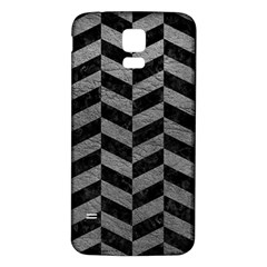 Chevron1 Black Marble & Gray Leather Samsung Galaxy S5 Back Case (white)