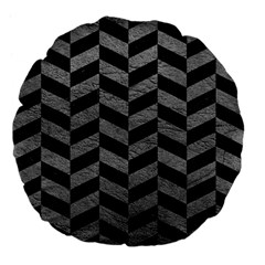 Chevron1 Black Marble & Gray Leather Large 18  Premium Flano Round Cushions