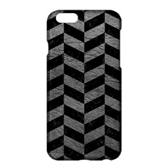Chevron1 Black Marble & Gray Leather Apple Iphone 6 Plus/6s Plus Hardshell Case