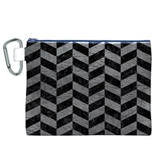 Chevron1 Black Marble & Gray Leather Canvas Cosmetic Bag (xl)