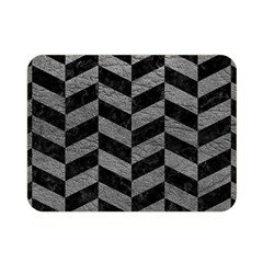 Chevron1 Black Marble & Gray Leather Double Sided Flano Blanket (mini)