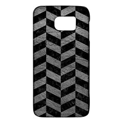 Chevron1 Black Marble & Gray Leather Galaxy S6