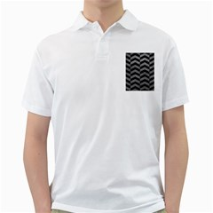 Chevron2 Black Marble & Gray Leather Golf Shirts