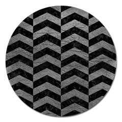 Chevron2 Black Marble & Gray Leather Magnet 5  (round)