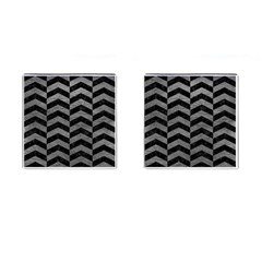 Chevron2 Black Marble & Gray Leather Cufflinks (square)