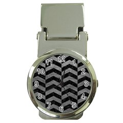 Chevron2 Black Marble & Gray Leather Money Clip Watches