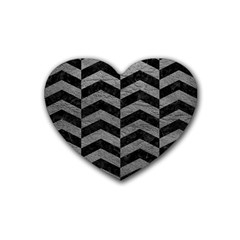 Chevron2 Black Marble & Gray Leather Heart Coaster (4 Pack)