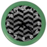 CHEVRON2 BLACK MARBLE & GRAY LEATHER Color Wall Clocks Front