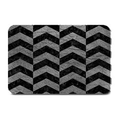 Chevron2 Black Marble & Gray Leather Plate Mats