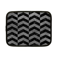 Chevron2 Black Marble & Gray Leather Netbook Case (small)