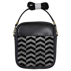 Chevron2 Black Marble & Gray Leather Girls Sling Bags