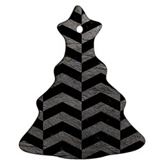 Chevron2 Black Marble & Gray Leather Christmas Tree Ornament (two Sides)