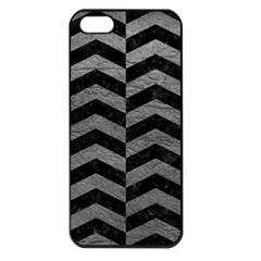 Chevron2 Black Marble & Gray Leather Apple Iphone 5 Seamless Case (black)