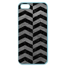 Chevron2 Black Marble & Gray Leather Apple Seamless Iphone 5 Case (color)