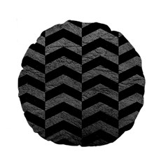 Chevron2 Black Marble & Gray Leather Standard 15  Premium Round Cushions
