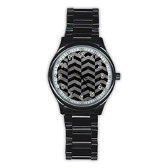 Chevron2 Black Marble & Gray Leather Stainless Steel Round Watch