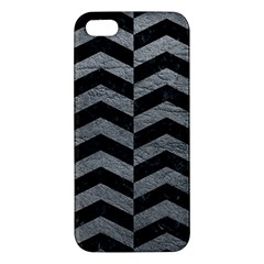 Chevron2 Black Marble & Gray Leather Iphone 5s/ Se Premium Hardshell Case