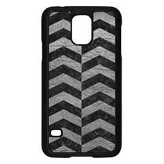 Chevron2 Black Marble & Gray Leather Samsung Galaxy S5 Case (black)