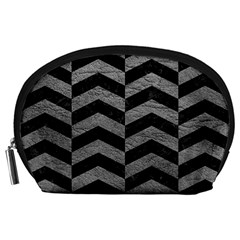 Chevron2 Black Marble & Gray Leather Accessory Pouches (large)
