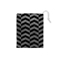 Chevron2 Black Marble & Gray Leather Drawstring Pouches (small)