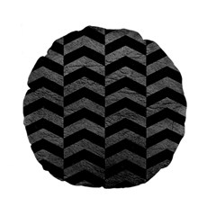 Chevron2 Black Marble & Gray Leather Standard 15  Premium Flano Round Cushions