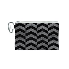 Chevron2 Black Marble & Gray Leather Canvas Cosmetic Bag (s)