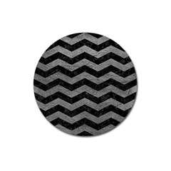 Chevron3 Black Marble & Gray Leather Magnet 3  (round)