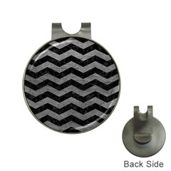 Chevron3 Black Marble & Gray Leather Hat Clips With Golf Markers