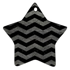 Chevron3 Black Marble & Gray Leather Star Ornament (two Sides)