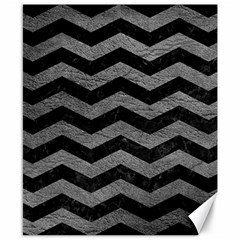 Chevron3 Black Marble & Gray Leather Canvas 8  X 10