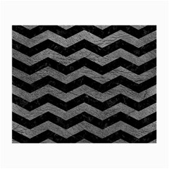 Chevron3 Black Marble & Gray Leather Small Glasses Cloth (2 Side)