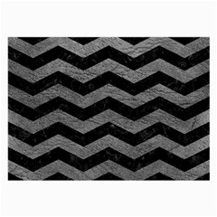 Chevron3 Black Marble & Gray Leather Large Glasses Cloth (2 Side)