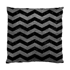 Chevron3 Black Marble & Gray Leather Standard Cushion Case (one Side)