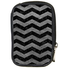 Chevron3 Black Marble & Gray Leather Compact Camera Cases