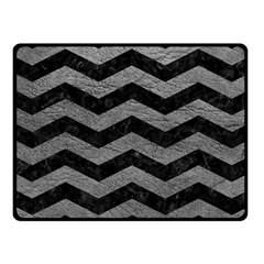Chevron3 Black Marble & Gray Leather Fleece Blanket (small)
