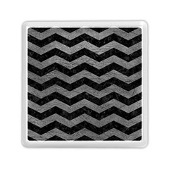 Chevron3 Black Marble & Gray Leather Memory Card Reader (square)