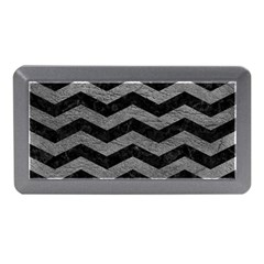 Chevron3 Black Marble & Gray Leather Memory Card Reader (mini)
