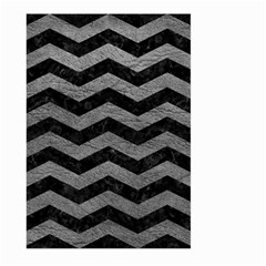 Chevron3 Black Marble & Gray Leather Large Garden Flag (two Sides)