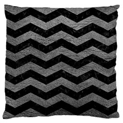 Chevron3 Black Marble & Gray Leather Large Cushion Case (two Sides)