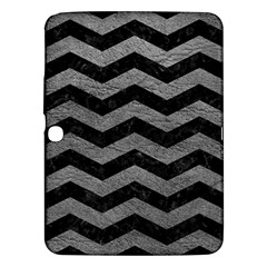 Chevron3 Black Marble & Gray Leather Samsung Galaxy Tab 3 (10 1 ) P5200 Hardshell Case