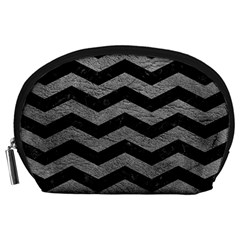 Chevron3 Black Marble & Gray Leather Accessory Pouches (large)