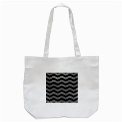 Chevron3 Black Marble & Gray Leather Tote Bag (white)